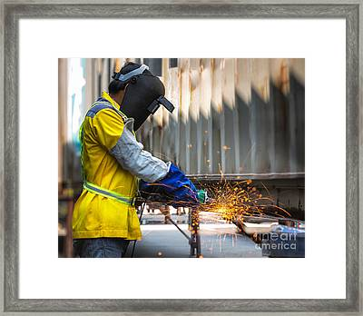 Electric Wheel Grinding On Steel Structure Framed Print by Anek Suwannaphoom
