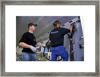Electric Wiring In Train Construction Framed Print by Andrew Wheeler