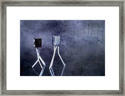 Electrical Circuits In Blue Tone Framed Print by Tommytechno Sweden