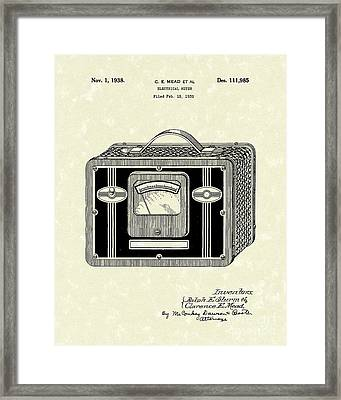 Electrical Meter 1938 Patent Art Framed Print