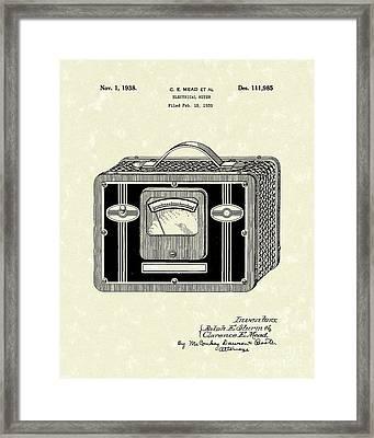 Electrical Meter 1938 Patent Art Framed Print by Prior Art Design