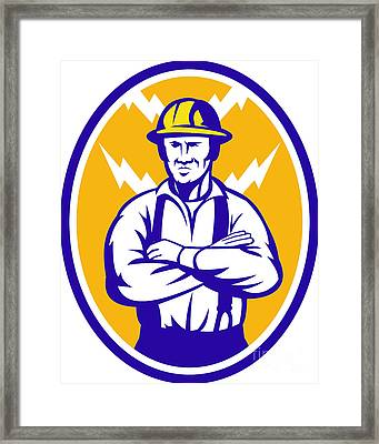 Electrician Construction Worker Lightning Bolt Framed Print by Aloysius Patrimonio
