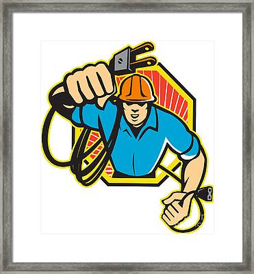 Electrician Construction Worker Retro Framed Print by Aloysius Patrimonio