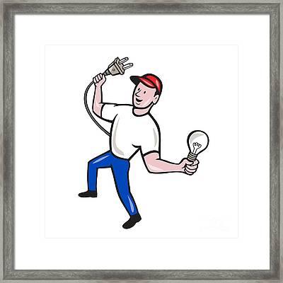 Electrician Hold Electric Plug And Bulb Cartoon Framed Print by Aloysius Patrimonio