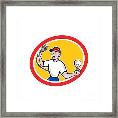 Electrician Holding Electric Plug And Bulb Cartoon Framed Print by Aloysius Patrimonio