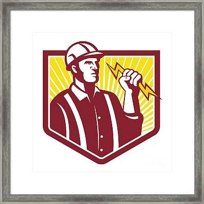 Electrician Holding Lightning Bolt Retro Framed Print by Aloysius Patrimonio