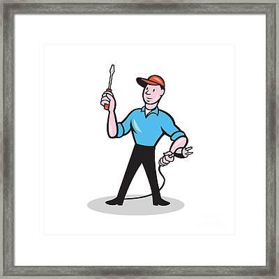 Electrician Holding Screwdriver Plug Cartoon Framed Print by Aloysius Patrimonio
