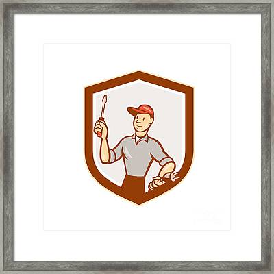 Electrician Screwdriver Plug Shield Cartoon Framed Print by Aloysius Patrimonio