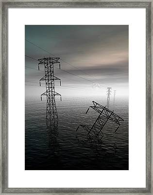 Electricity Pylons In Water Framed Print