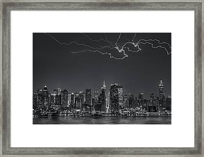 Electrifying New York City Bw Framed Print by Susan Candelario