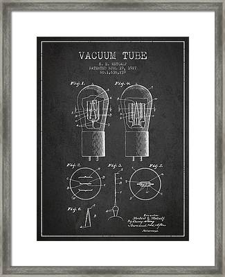 Electrode Vacuum Tube Patent From 1927 - Charcoal Framed Print by Aged Pixel