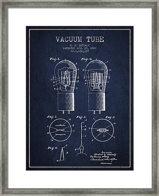 Electrode Vacuum Tube Patent From 1927 - Navy Blue Framed Print by Aged Pixel