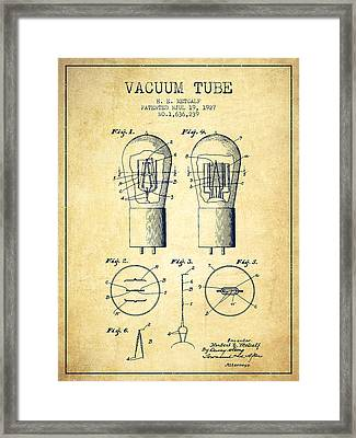 Electrode Vacuum Tube Patent From 1927 - Vintage Framed Print by Aged Pixel
