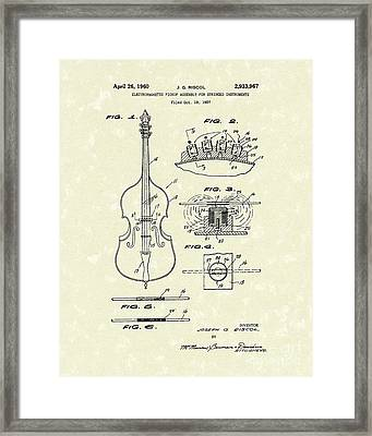 Electromagnetic Pickup 1960 Patent Art Framed Print by Prior Art Design
