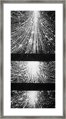 Electrons & Positrons From Cosmic Ray Framed Print by Science Photo Library