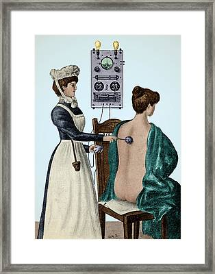 Electrotherapy, Faradization, 1900 Framed Print