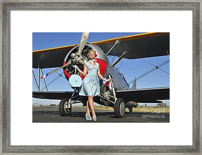 Elegant 1940s Style Pin-up Girl Framed Print by Christian Kieffer