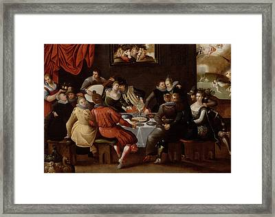 Elegant Figures Feasting And Disporting Framed Print