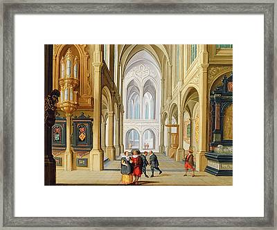 Elegant Figures In A Gothic Church Framed Print by Dirck Van Deelen