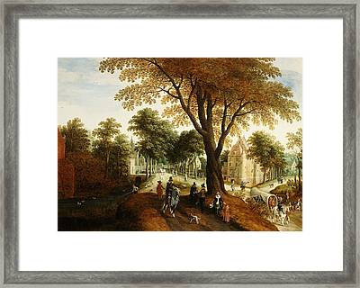 Elegant Horsemen And Figures On A Path In Front Of A Chateau Framed Print