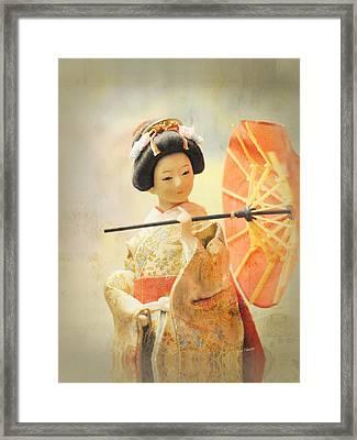 Elegant Japanese Geisha Doll Framed Print by Renee Forth-Fukumoto