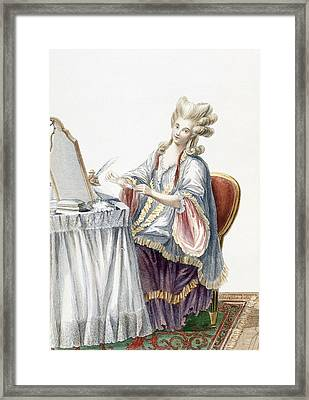 Elegant Lady At Her Dressing Table Framed Print by Pierre Thomas Le Clerc