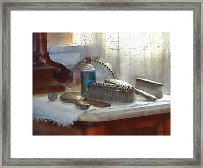 Elegant Silver Hair Brush Set Framed Print by Susan Savad