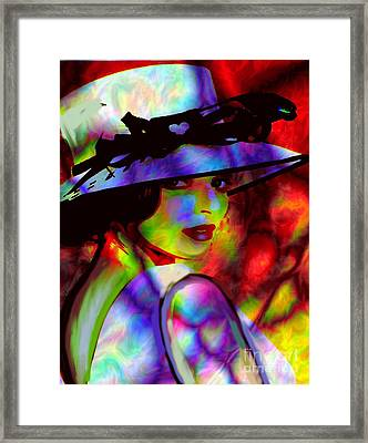 Elegant Woman In Shade Framed Print by Diana Riukas