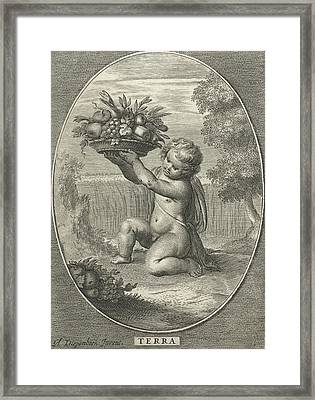 Element Earth As A Child With Bowl Of Fruit And Vegetables Framed Print by Cornelis Van Dalen Ii And Nicolaes Visscher I