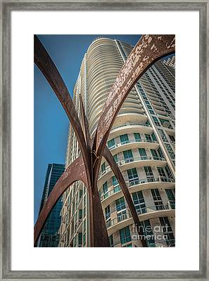 Element Of Duenos Do Los Estrellas Statue With Miami Downtown In Background  Framed Print