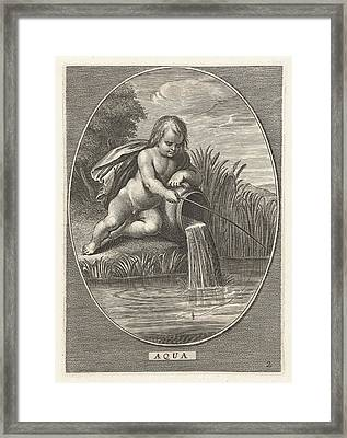 Element Water As A Child With Fishing Rod Leaning On Jar Framed Print by Cornelis Van Dalen Ii And Abraham Van Diepenbeeck And Nicolaes Visscher I