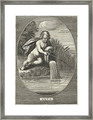 Element Water As A Child With Fishing Rod Leaning On Jar Framed Print by Cornelis Van Dalen (ii) And Anonymous And Abraham Van Diepenbeeck