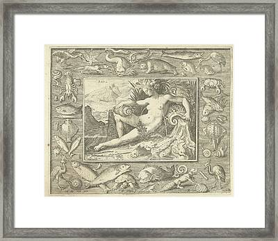 Element Water As Naked Woman Sitting Near A Well With Fish Framed Print