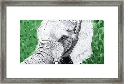 Framed Print featuring the painting Elephant 1 by Jeanne Fischer