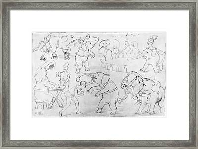 Elephant Acts, 1880s Framed Print