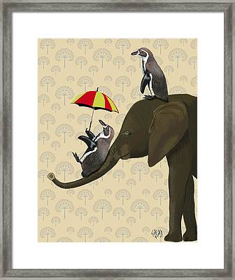 Elephant And Penguins Framed Print by Kelly McLaughlan