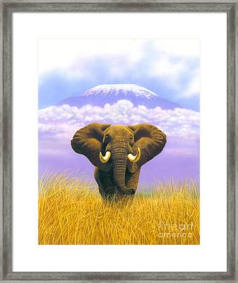 Elephant At Table Mountain Framed Print by MGL Studio - Chris Hiett