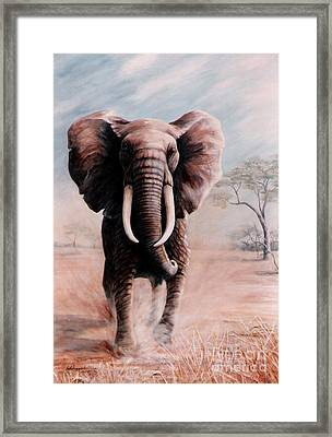 Framed Print featuring the painting Elephant Charge by DiDi Higginbotham