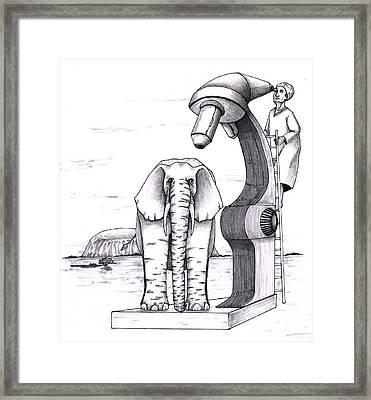 Elephant Examined Under Huge Microscope Outside Framed Print