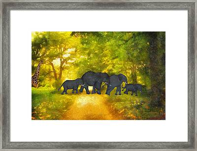 Elephant Family Jungle Walk Textured Framed Print by Thomas Woolworth