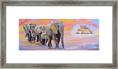 Framed Print featuring the painting Elephant Fantasy Must Open by Phyllis Kaltenbach