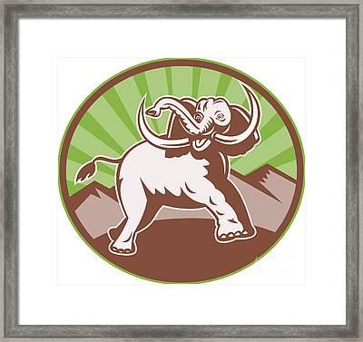 Elephant Giant Tusk Side Retro Circle Framed Print by Aloysius Patrimonio