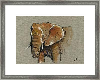 Elephant Head African Framed Print by Juan  Bosco