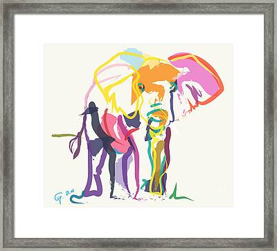 Elephant In Color Ecru Framed Print