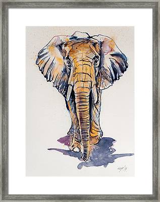 Elephant In Gold Framed Print by Kovacs Anna Brigitta