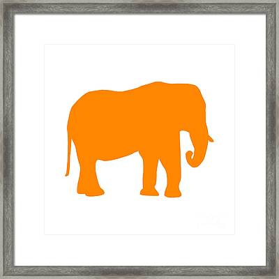Elephant In Orange And White Framed Print