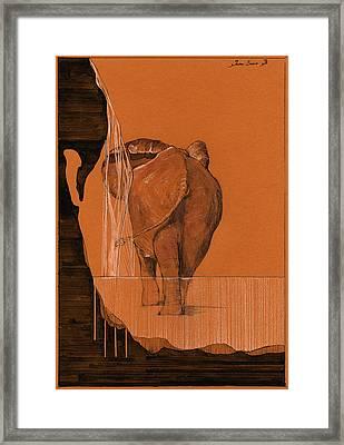 Elephant In River Framed Print by Juan  Bosco
