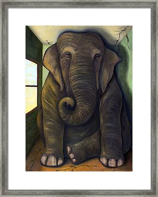 Elephant In The Room Framed Print by Leah Saulnier The Painting Maniac