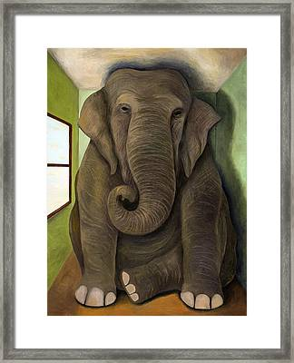 Elephant In The Room Wip Framed Print by Leah Saulnier The Painting Maniac