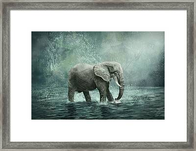 Elephant In The Water - Painting Framed Print by Aleksandra Bandomir
